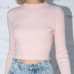Brandy Melville Pink Mock Neck Ribbed Sweater